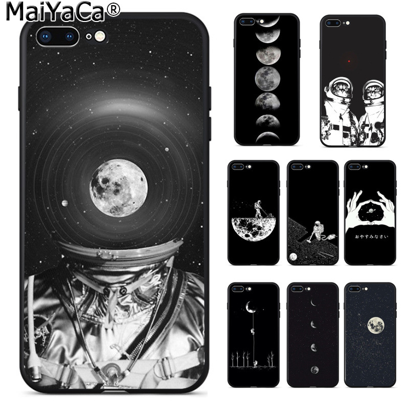 Quality Objective Maiyaca Space Moon Plane Abstract Stars Art Black Phone Case For Iphone 8 7 6 6s Plus X Xs Max 5 5s Se Xr 10 Cover Capa Excellent In