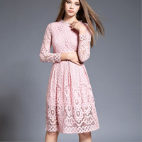 Quality 2018 Women Bohemian White Lace Dress Girls Autumn Crochet Hollow Out Dress Casual Long Sleeve Plus Size Dress Clothing