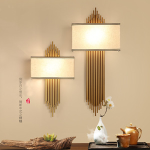 Image 1 - Chinese Wall Lamp E14 Led Bulb Metal Pipe Living room Wall Decoration Hotel Aisle Wall Lights Bedroom Wall Sconce Surface Mount