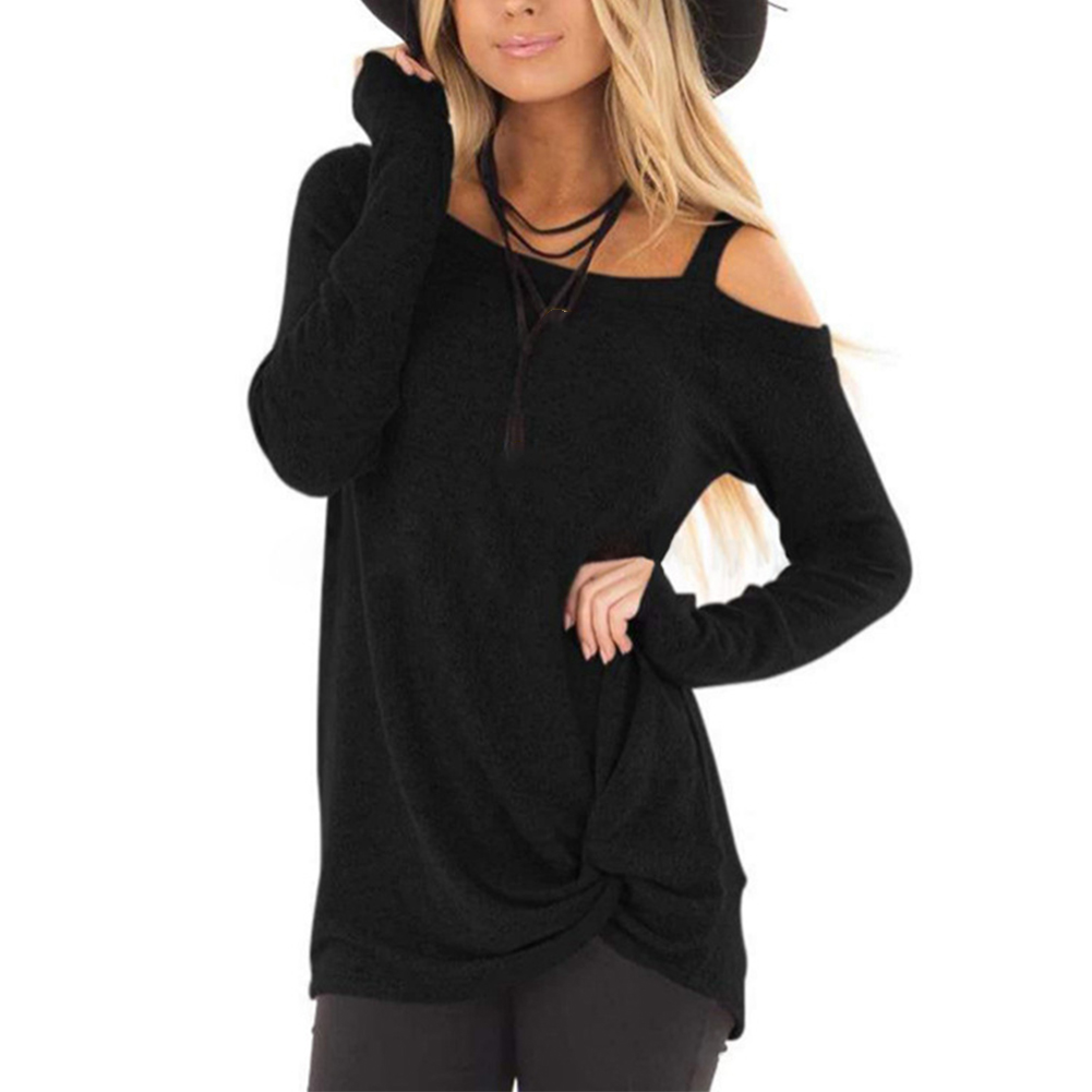 Shopping Twist Knotted Loose Sexy Women T shirt Cold Shoulder Autumn Daily Home Polyester Long Sleeve Casual Solid Basic in T Shirts from Women 39 s Clothing