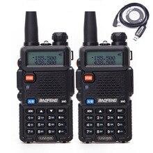 2 шт. Baofeng BF-UV5R 5 Вт Любительская портативная рация UV-5R VHF/UHF Двухдиапазонная двухсторонняя CB радио UV 5r+ USB кабель для программирования