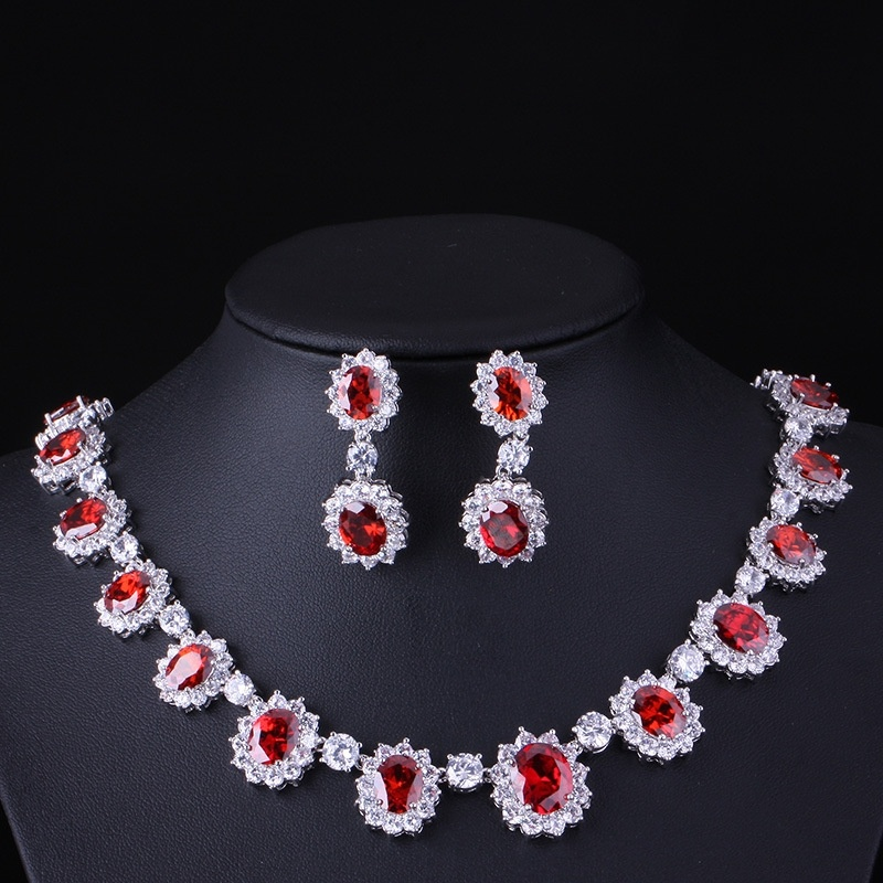 Classic Princess Diana Jewelry Set Ruby Stud Earrings Silver Chain Necklace Luxury Wedding Jewelry Set Sapphire Stud Earrings