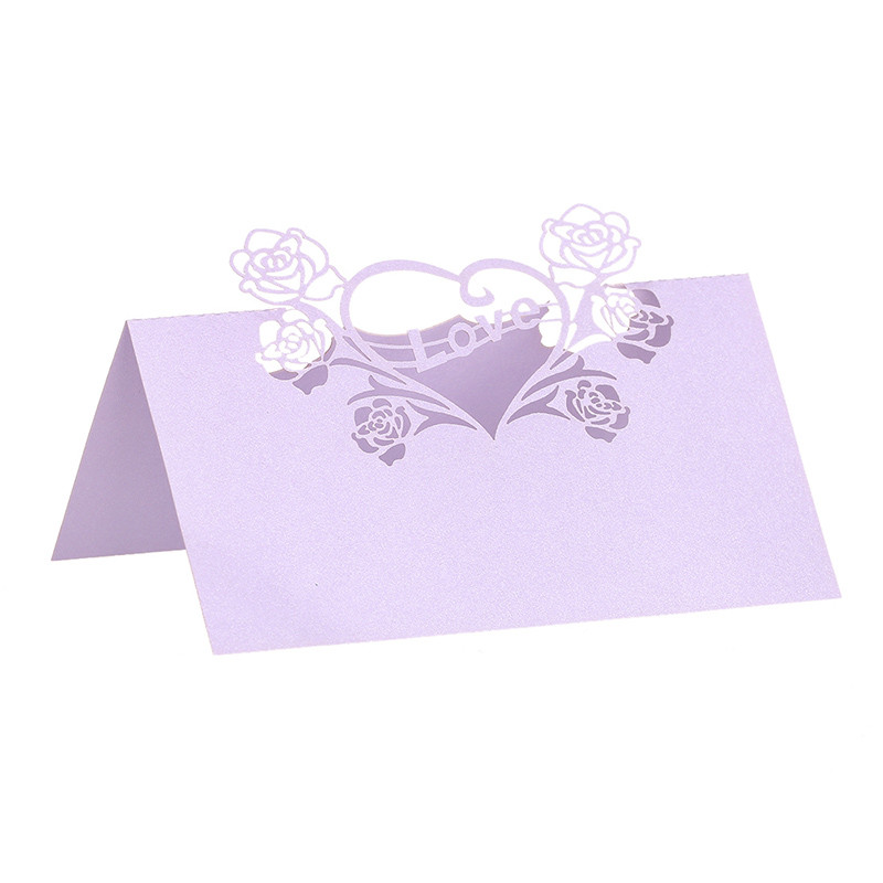 Attractive 12PCS Lilac Laser Cut Love Heart Name Place Card / Escort Card / Tabel Card/