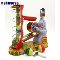Children Vintage Tin Toy Reminiscence Metal Elephant Ball Wind Up Toy Childhood Memories Clockwork Toys For Children Adults
