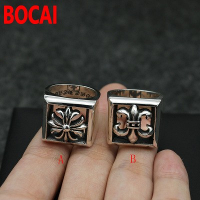 Gothic Punk and silver rings for single men domineering temperament CH Engraved Sterling Silver ring finger