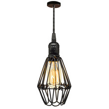Vintage Industrial Nordic Wrought Iron Loft Style Retro Led Pendent Light Cage Lampshade Decor Pendant Lighting No B(China)