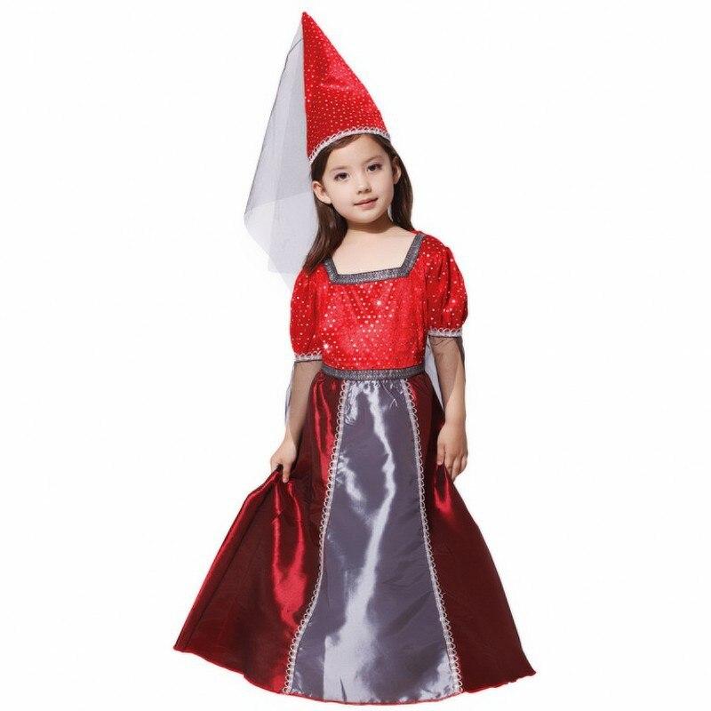 New Girls Red Goth Medieval princess Renaissance Juliet Child Halloween Fancy dress up Witch Princess costume