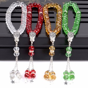 Image 2 - 8mm Faceted Clear Crystal Beaded Bracelet 33 Prayer Beads Islamic Muslim Tasbih Allah Mohammed Rosary for Women Men Jewelry