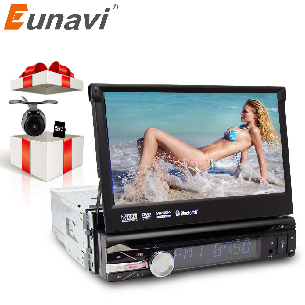 Eunavi 7 Universal 1 Din Car Radio DVD Player GPS Navigation Autoradio Stereo with Bluetooth PC Automotivo SD USB RDS Aux CD