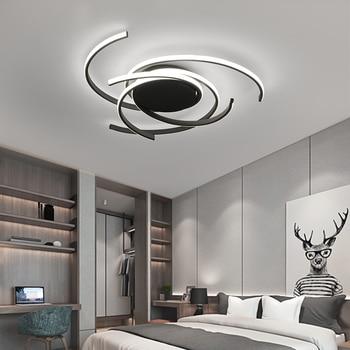 Creative modern led ceiling lights living room bedroom study balcony indoor lighting black white aluminum ceiling lamp fixture 1