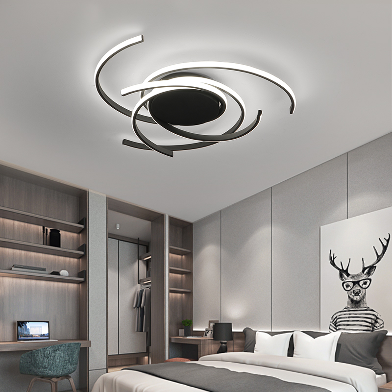 Creative modern led ceiling lights living room bedroom study balcony indoor lighting black white aluminum ceiling Innrech Market.com