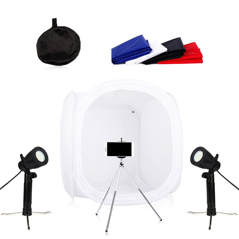 CY Photography Photo Studio Lighting Kits Background Support Stand+Photography Umbrella Set + E27 Bulb Holder +Cotton Backdrops