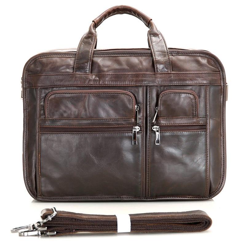 Nesitu Vintage Real Skin Genuine Leather Men Briefcase Messenger Bags Business Travel Bag Portfolio 14 Inch Laptop Bag #M7093