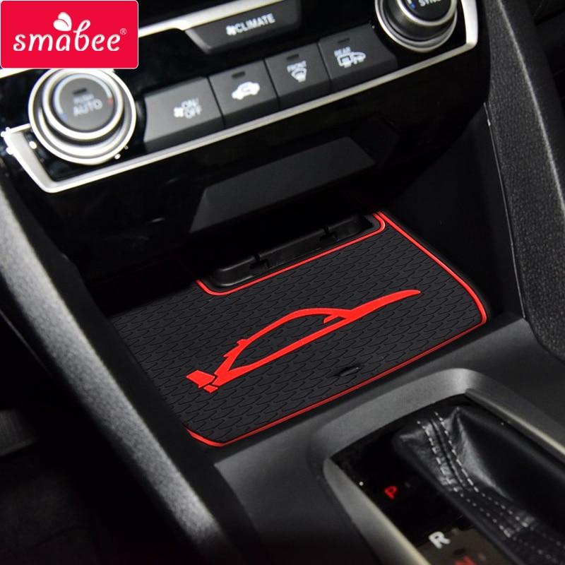 Smabee Gate Slot Mats For Honda CIVIC TYPE R 2016 2017 2018 2019 CIVIC10 USA Model Interior Door Pad Cup Holders Non-slip Mats