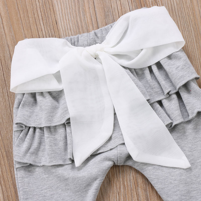 Infant Baby Girl Layered Ruffle Pants Toddler Kid Long Pants Bowknot Casual Bottoms Clothing 11