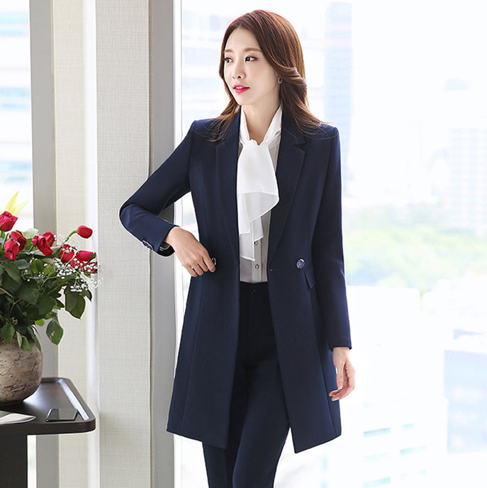 Autumn Winter Women Double Breasted Long Blazer Elegant Long Sleeve Formal Jacket for Office Lady Black Red Blue Blazer Mujer