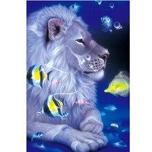 Full Drill Round Diamond Embroidery Mosaic Stickers 5D DIY Diamond Painting Lion and Fish Pattern Rhinestone Cross Stitch цена