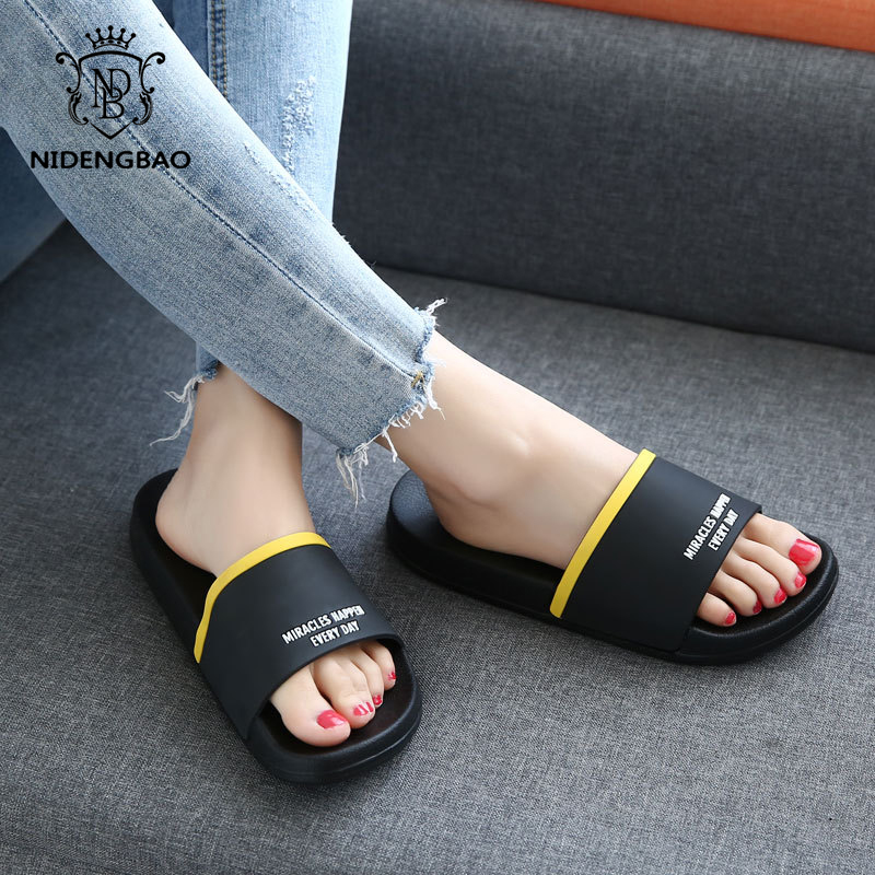 Brand Slippers Women Men Flat Slides Summer Casual Beach Flip Flops Shoes Non-slip Indoor House Home Comfortable Slippers Shoes