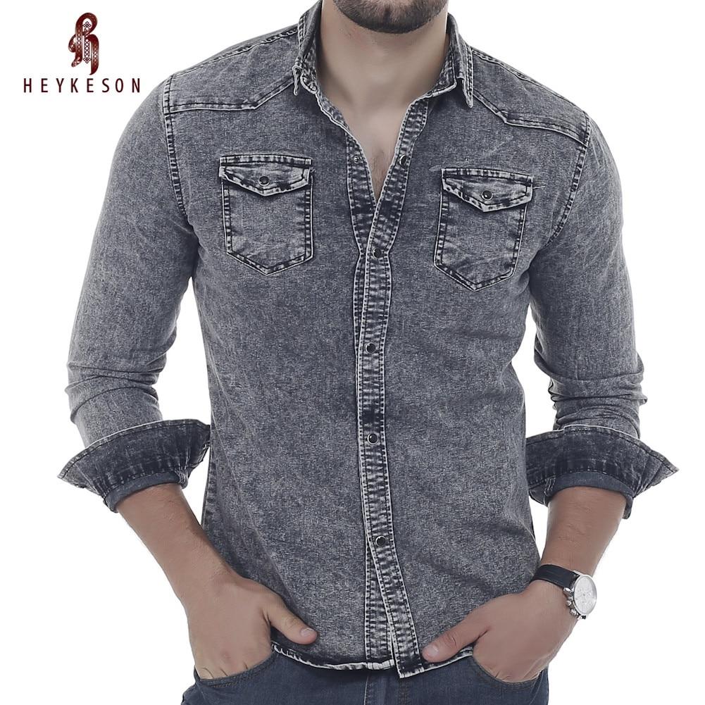 HEYKESON Men Shirt Brand 2017 Male Long Sleeve Shirts Casual Solid Color Denim Slim Fit Dress