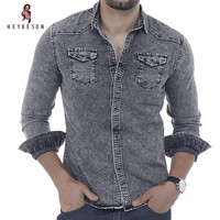HEYKESON Men Shirt Brand 2017 Male Long Sleeve Shirts Casual Solid Color Denim Slim Fit Dress