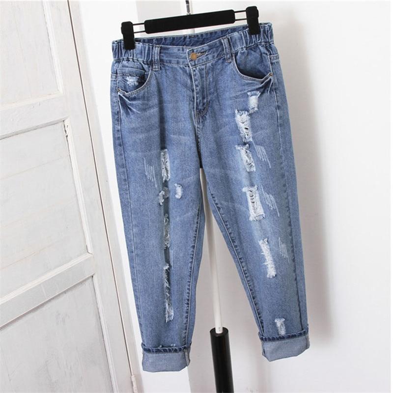 5d950a25 Plus tamaño 5XL agujeros novio vaqueros para mujeres verano Pantalones  vaqueros de cintura alta ...