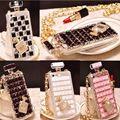 Frasco de Perfume Forma de Diamante de Cristal de luxo Tampa Da Caixa Bolsa Para Apple iphone 7 7 plus 6 6 s plus 5 5S se 4 4S