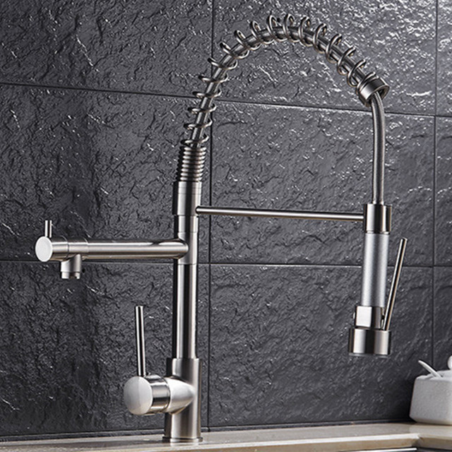 Free Shipping Top Quality Three Way Kitchen Faucet With Brushed Kitchen  Sink Faucet Of 3 Ways