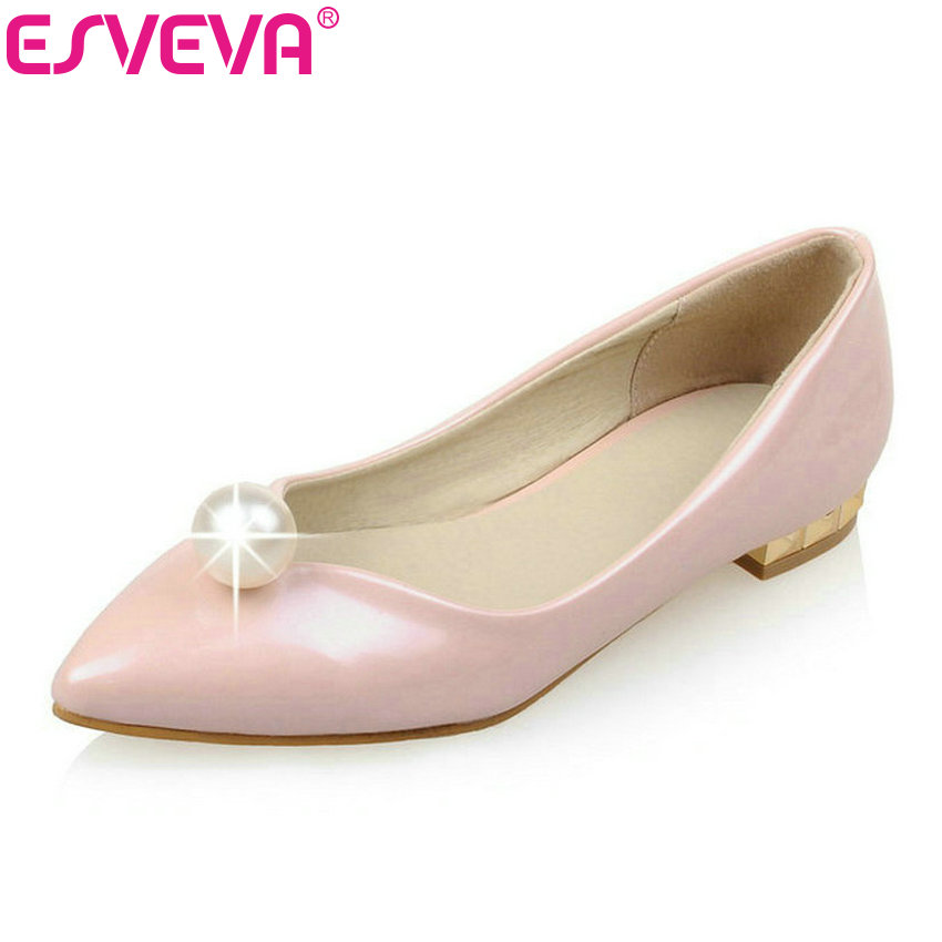 ESVEVA  Pu Patent Leather Beading Square Heels Women Pumps Slip On Spring/Autumn Girls Party Shoe Pointed Toe Size 34-43 Blue xexy small square toe medium heels natural leather women shoe spring autumn buckle strap dance party sweet platform women pumps