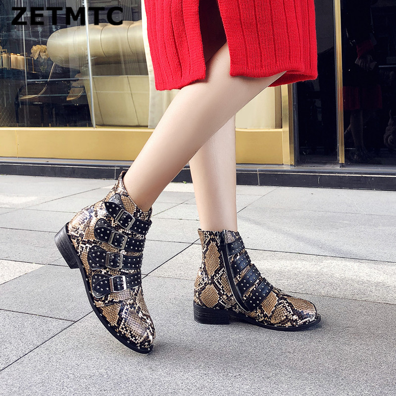 ZETMTC <font><b>2018</b></font> Women Zipper Boots Snake Print Ankle Boots Square heel Fashion Round head Ladies <font><b>Sexy</b></font> <font><b>shoes</b></font> New Chelsea rivet Boots image