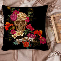 Dead Day Decoration Cushion Cover Sugar Skull Throw Pillows Cover Colorful Floral Print Square Pillow Case Living Room Sofa Seat