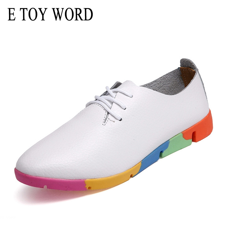 E TOY WORD Women oxford shoes ballerina Flats genuine leather pointed toe Lace up moccasins Ladies casual shoes White black women ladies flats vintage pu leather loafers pointed toe silver metal design