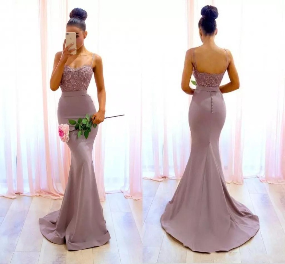 2018 Dusty Pink Spaghetti Straps Lace Applique Beaded Floor Length Mermaid Party prom Gown vestido de festa   Bridesmaid     Dresses