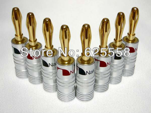 Nakamichi Banana Plug Gold Plated Speaker Connector Red and Black Color 10 pcs por lot Hot Sale  high end audio grade nakamichi ac 205 24k gold plated banana plug for diy speaker cable