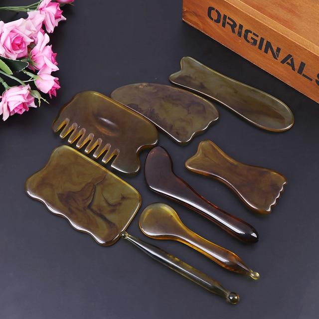 Natural Jade Guasha Scraping Massage Scraper  Gua Sha Board Resin Acupoint Face Eye Care SPA Massage Face Massager NEW 4