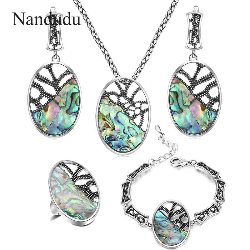 цена на Nandudu Retro Blue Colorful Oval Pendant Necklace Earrings Ring Bracelet Jewelry Sets for Women Girl Retro Accessories Gift