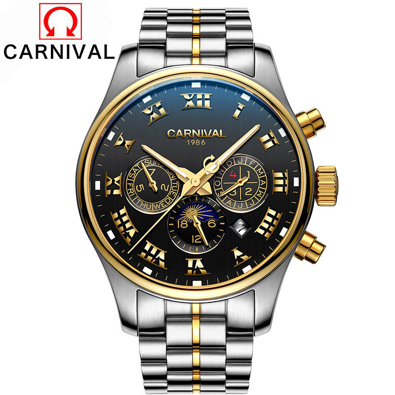 2016 Watches Men Luxury Top Brand Carnival Mechanical Watch relogio masculino Fashion business Sapphire sport casual Wristwatch