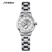 SINOBI 2017 Mulheres de Negócio de Relógios De Luxo Feminino Casual Aço Calendário relógios de Pulso Unisex Quartz Relógios Relogio masculino F41