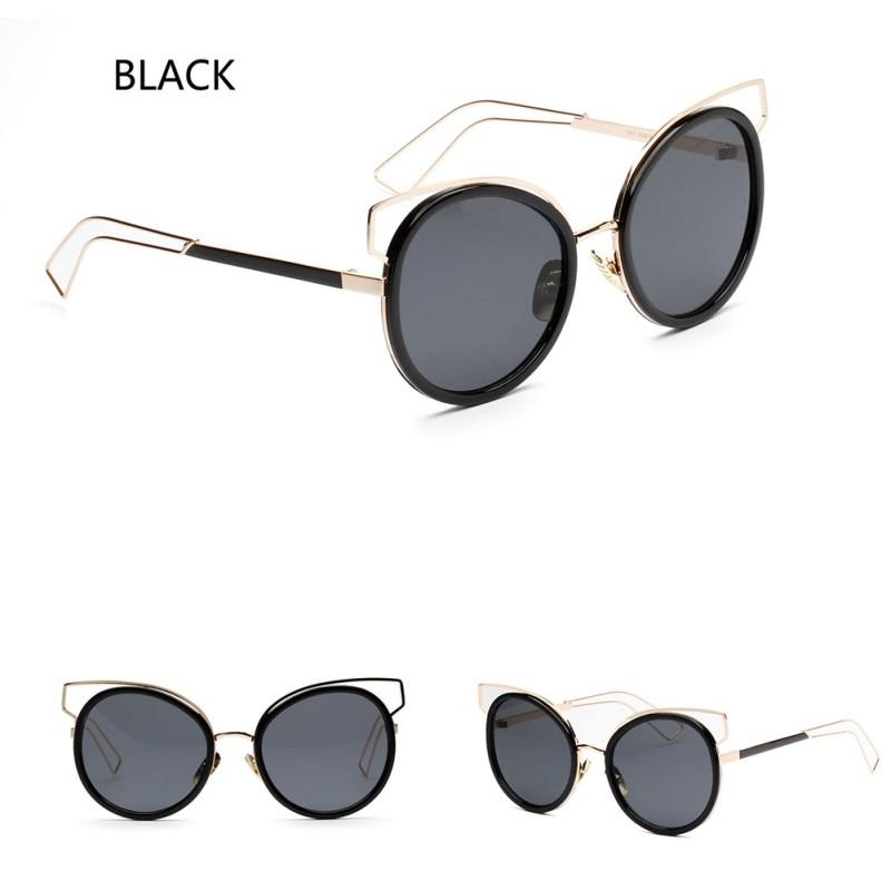 New Mirror Flat Lense Cat Eye Sunglasses Women Classic Brand Designer Twin Beams Rose Gold Frame