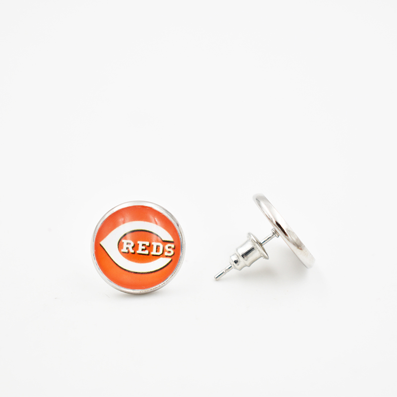 Stainless Steel 10 Pairs 316L Stainless Steel 5 Style Cincinnati Reds 12MM Glass Round Piece Earrings Hockey Team