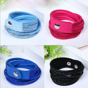 Shiny Handmade Leather Bracelets Couro With Full Crystal Wide Men Women Bracelet Bangles New arrvial Gift Jewelry 1.8cm *40cm image