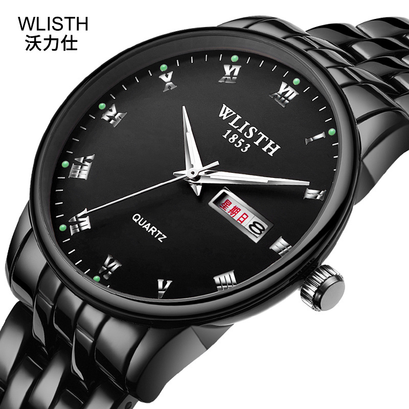 WLISTH 2019 Fashion New Couple Gift Stainless Steel Band Bussiness Men Women Clock Classic Double Calendar Lovers Wrist Watch