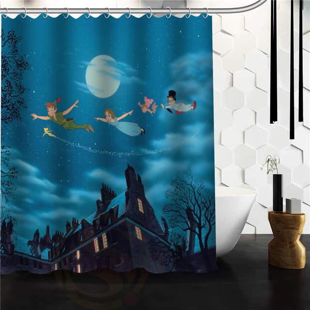 Custom Unique Design Cartoon Funny Peter Pan Waterproof Fabric Shower Curtain 48x72 60x72 66x72 Inch