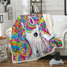 Art unicorn Throw colorful color cartoon Blanket 3D print Plush Bedspread Bed Blankets