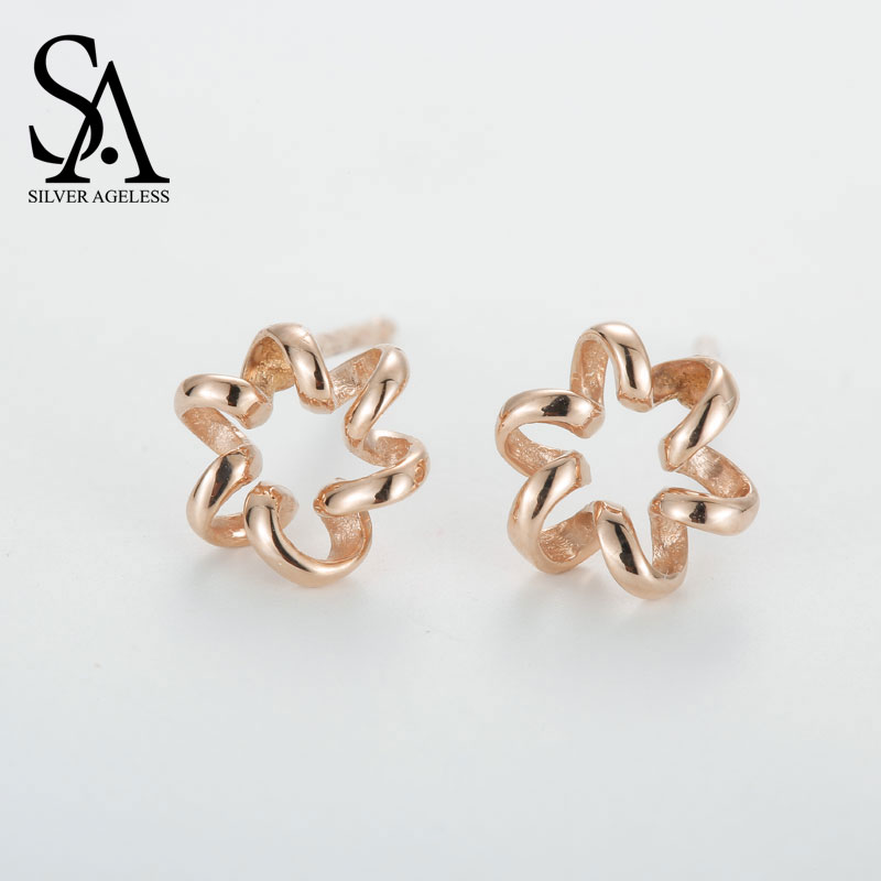 SILVER AGELESS 14K Yellow Gold Stud Earrings for Women Fine Jewelry 2017 New Arrival starry pattern gold plated alloy rhinestone stud earrings for women pink pair