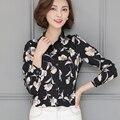 Primavera 2017 Mulheres Blusas de Impressão Do Vintage Blusas de Chiffon Camisa de Manga Comprida Plus Size 3XL Mulheres Blusa Moda Tops Camisas Femininas