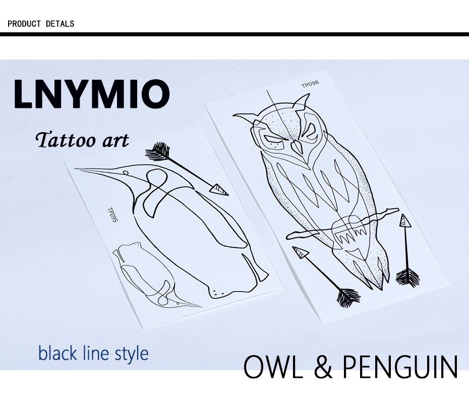 17 NEW tattoo owl and penguin temporary tattoo sticker black line style Man cool tattoo animal 1