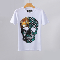 PPFRIEND new short sleeve tshirt men brand clothing fashion 3D tiger skull printed t shirt men cotton stretch tees male ADT80309