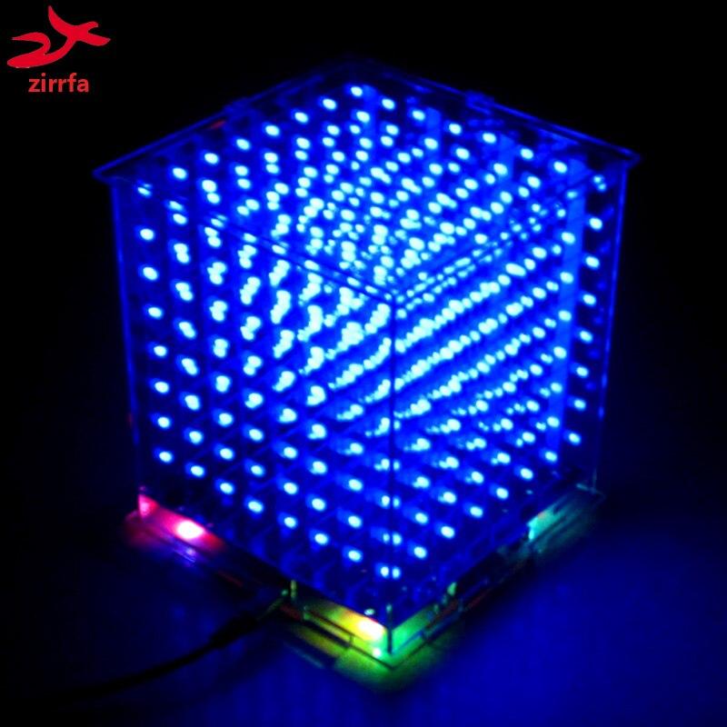 wholesale 3pcs 3D 8S 8x8x8 mini led electronic light cubeeds diy kit for Christmas Gift New