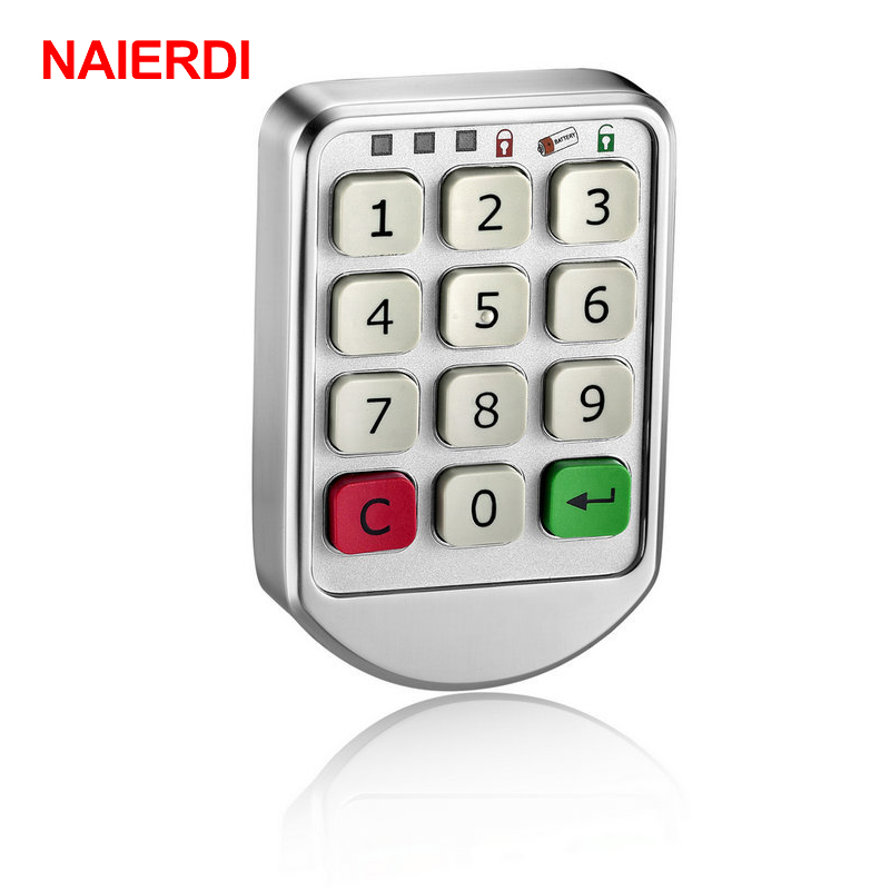 NAIERDI-906 Silver Metal Digital Electronic Password Intelligent Lock Keypad Number Cabinet Code Sauna Locks Backup Power Choice