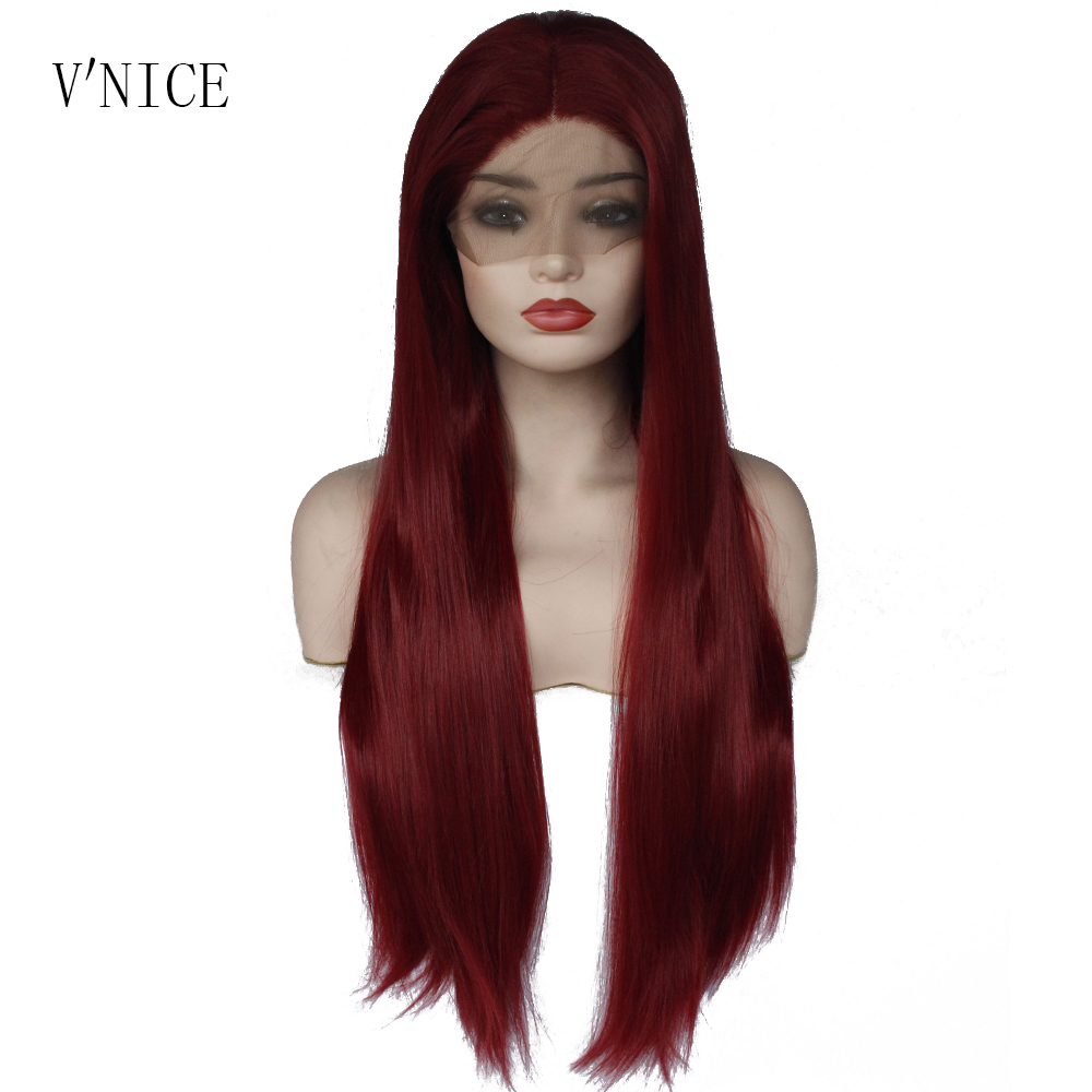 V NICE Natural Silky Long Straight Wine Red Wig Burgundy Color Heat Resistant Fiber Synthetic Lace
